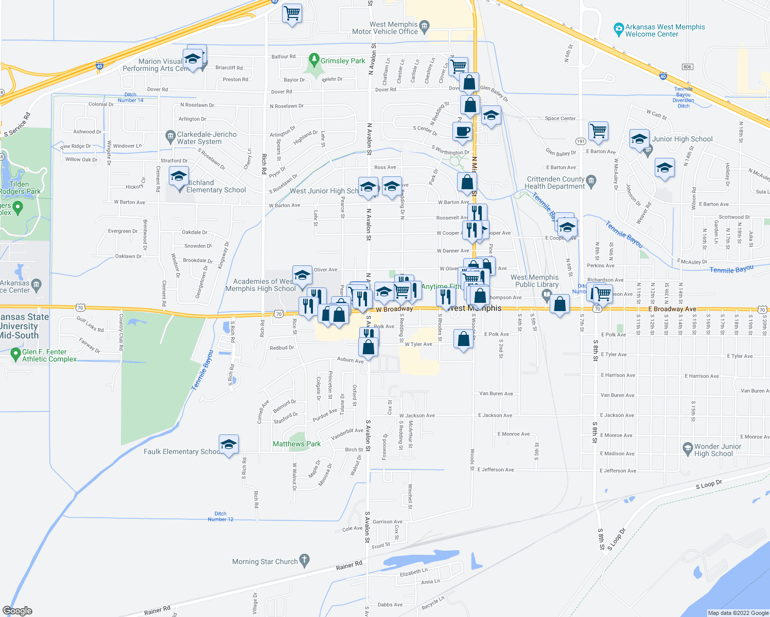 map of restaurants, bars, coffee shops, grocery stores, and more near 303 West Broadway in West Memphis