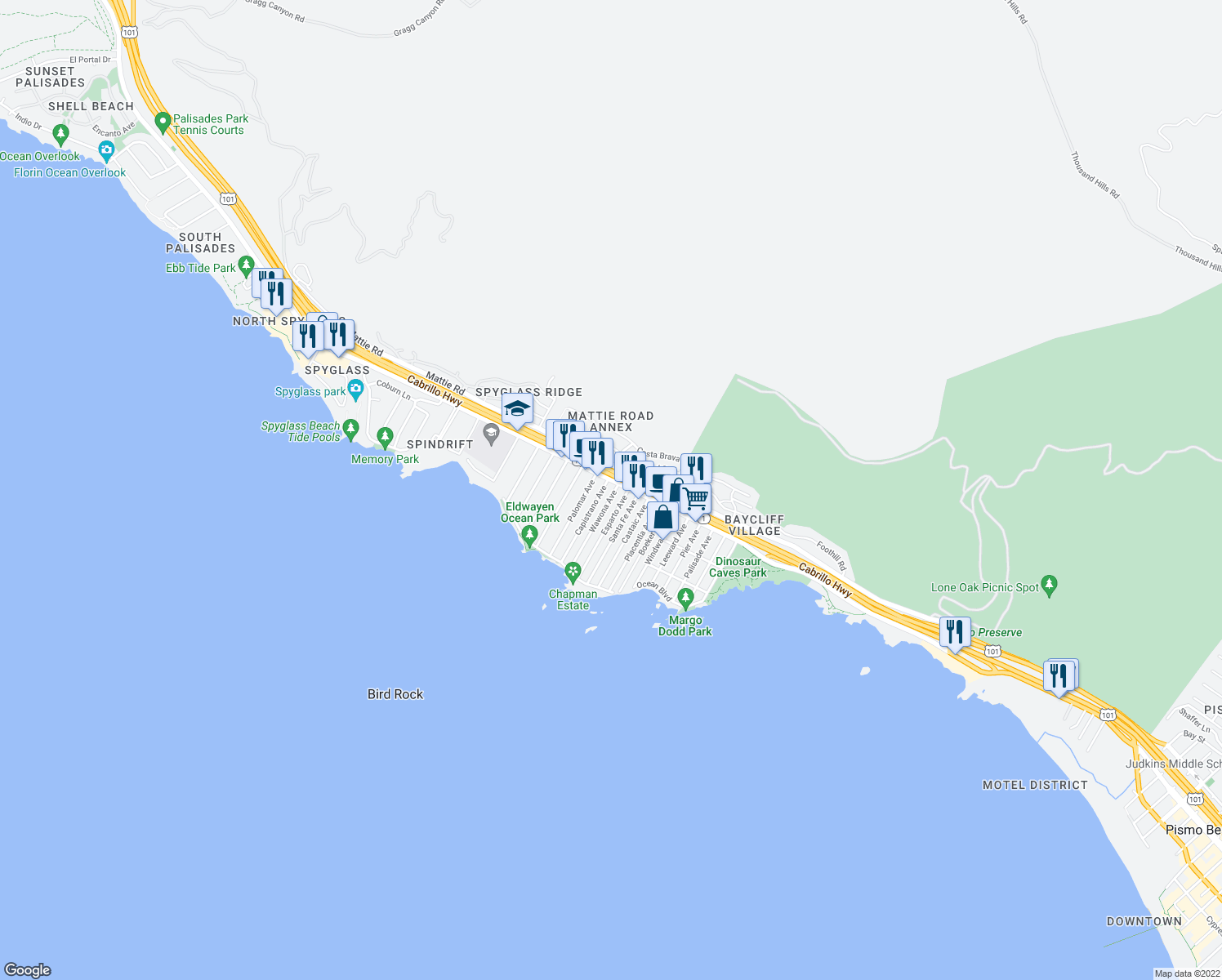 map of restaurants, bars, coffee shops, grocery stores, and more near 108 Wawona Avenue in Pismo Beach
