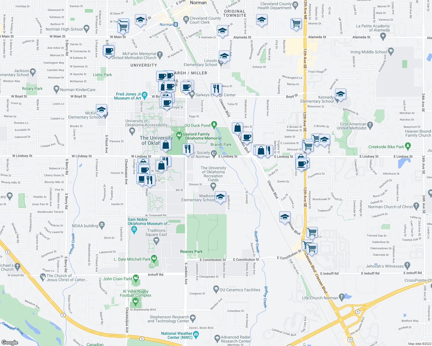 map of restaurants, bars, coffee shops, grocery stores, and more near 1402 George Ave in Norman