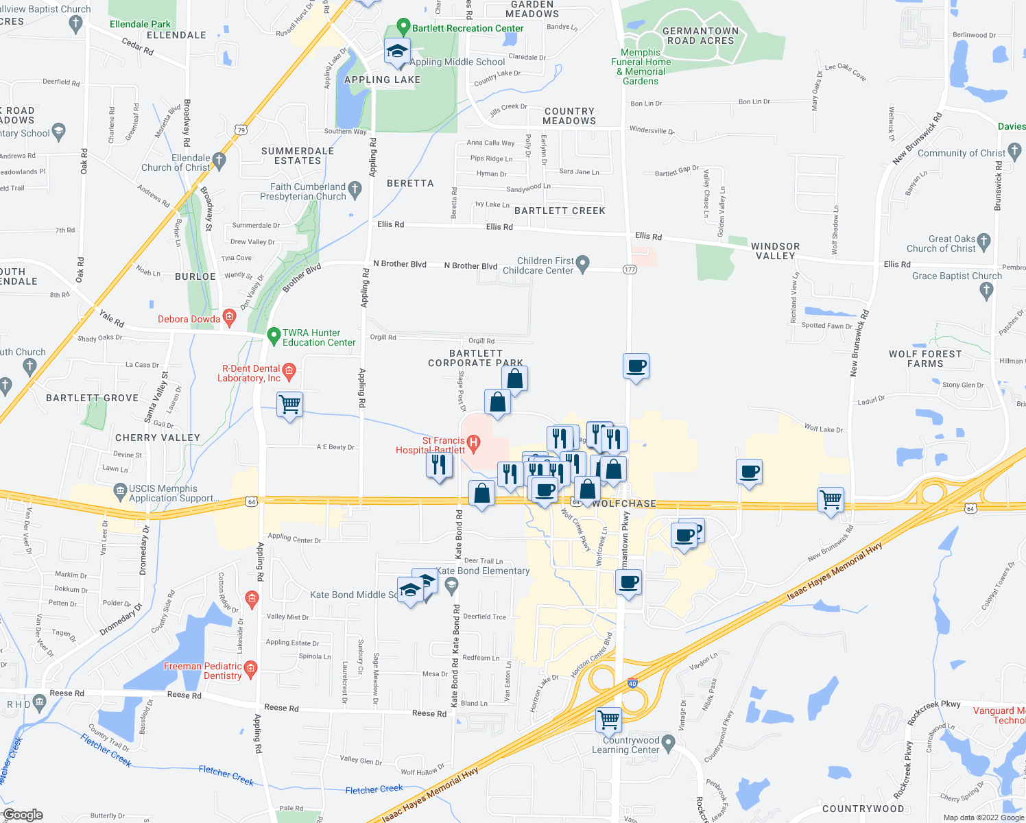 map of restaurants, bars, coffee shops, grocery stores, and more near 7920 Stage Hills Boulevard in Memphis