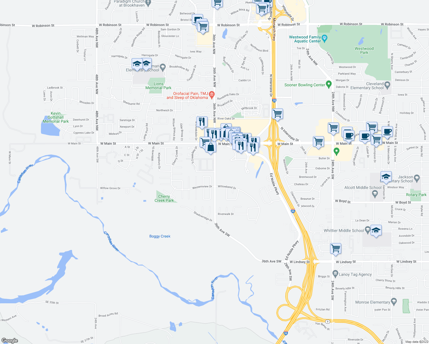 map of restaurants, bars, coffee shops, grocery stores, and more near 252-300 36th Ave SW in Norman