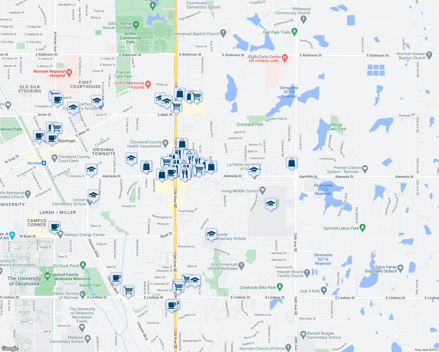 map of restaurants, bars, coffee shops, grocery stores, and more near 1563-1651 Alameda Street in Norman