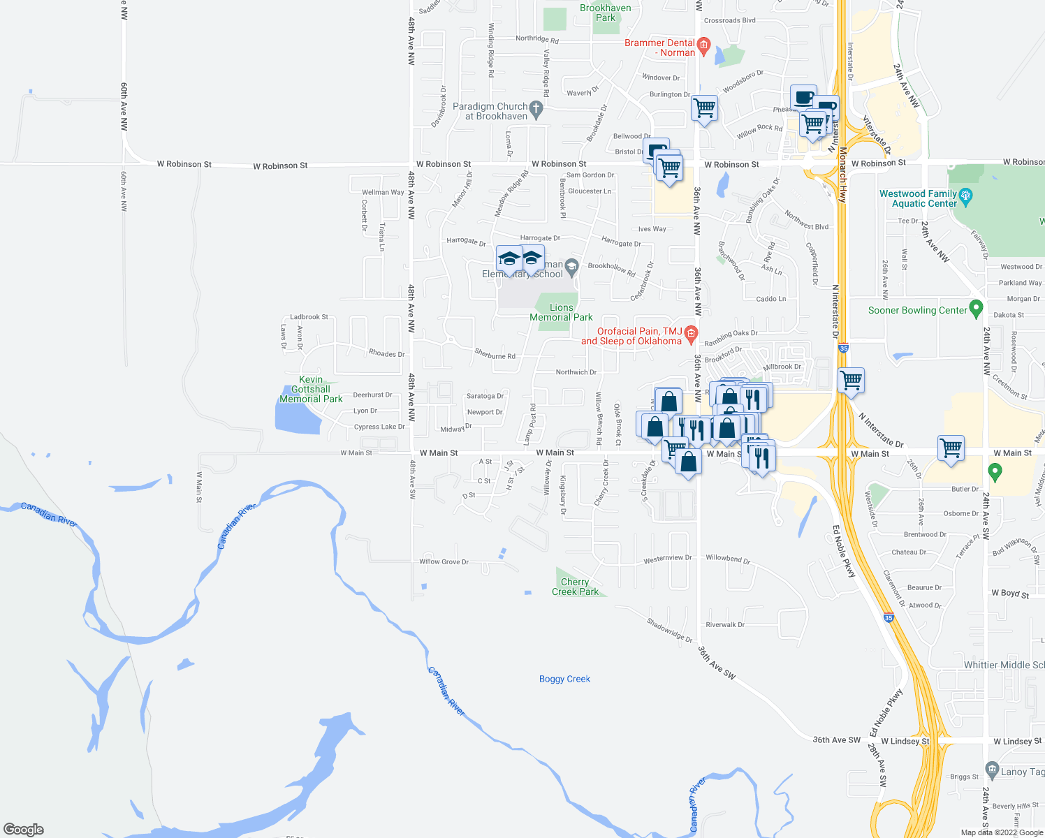 map of restaurants, bars, coffee shops, grocery stores, and more near 200-254 Lamp Post Road in Norman