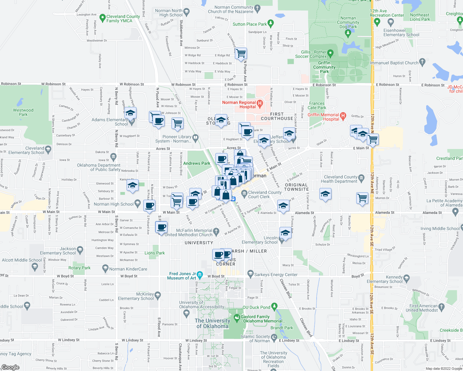 map of restaurants, bars, coffee shops, grocery stores, and more near 109 E Main St in Norman