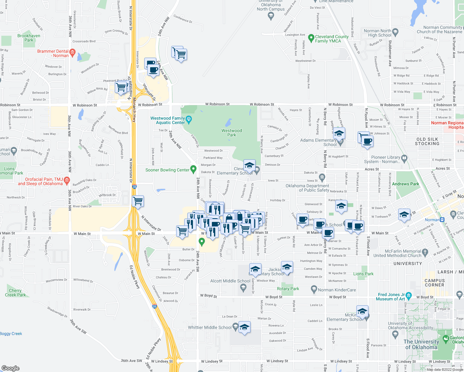 map of restaurants, bars, coffee shops, grocery stores, and more near 401 Merkle Dr in Norman