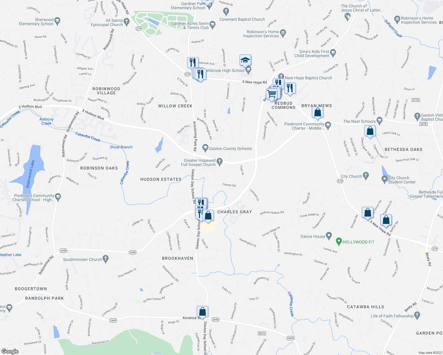 map of restaurants, bars, coffee shops, grocery stores, and more near 2922 Titman Road in Gastonia