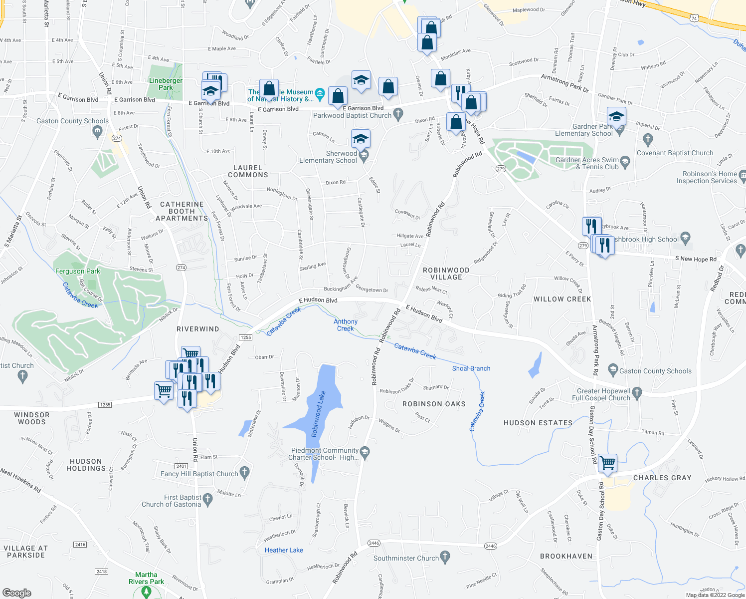 map of restaurants, bars, coffee shops, grocery stores, and more near 1566-1798 East Hudson Boulevard in Gastonia