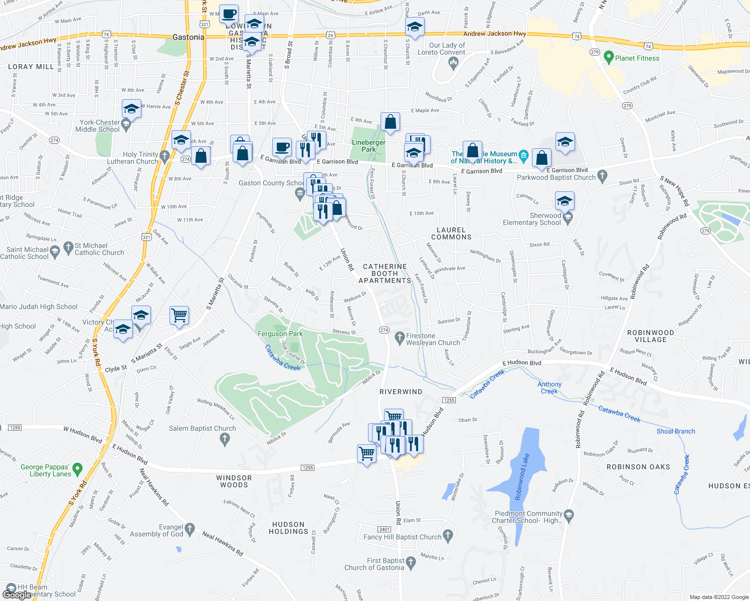 map of restaurants, bars, coffee shops, grocery stores, and more near Moss Creek Apartments in Gastonia