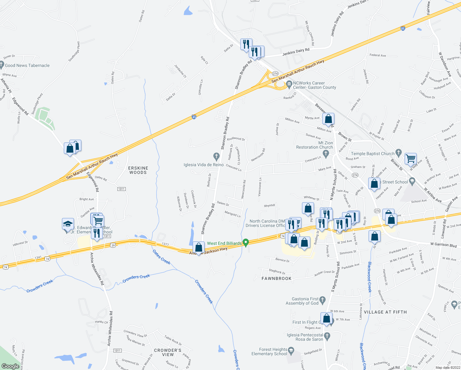 map of restaurants, bars, coffee shops, grocery stores, and more near 3108 Spring Valley Drive in Gastonia