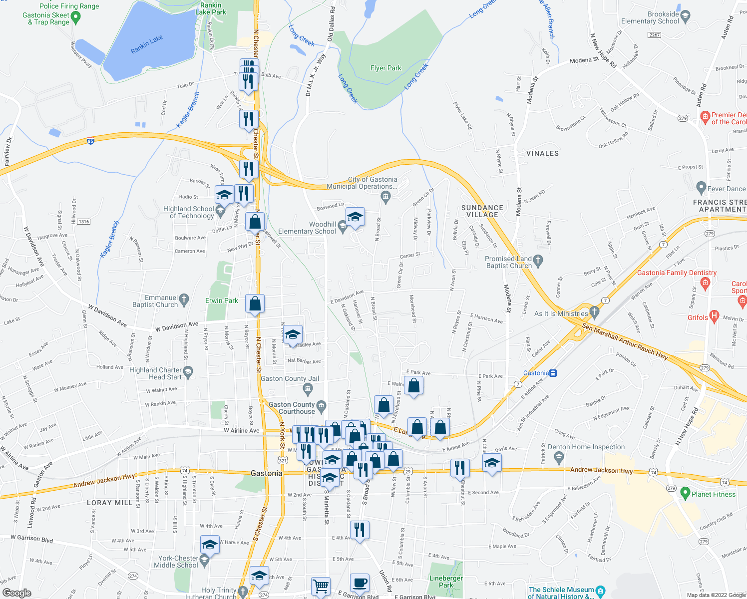 map of restaurants, bars, coffee shops, grocery stores, and more near 700 North Broad Street in Gastonia
