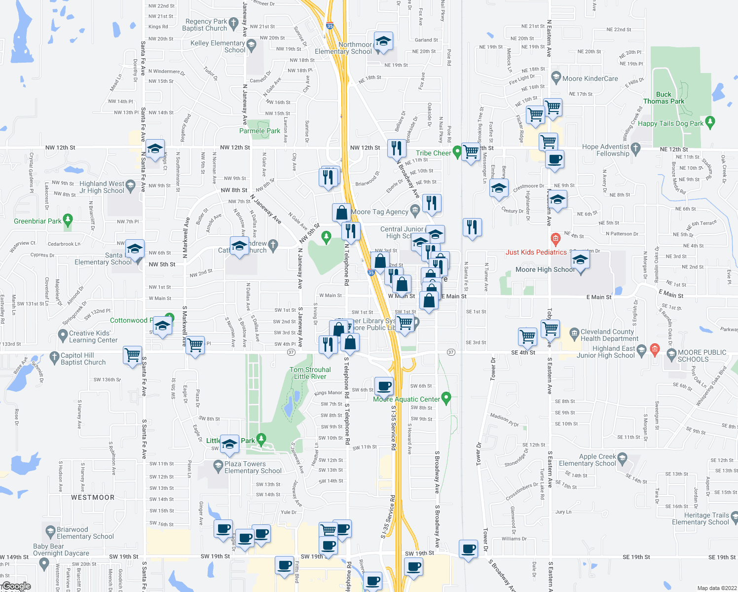 map of restaurants, bars, coffee shops, grocery stores, and more near 500 W Main St in Oklahoma City