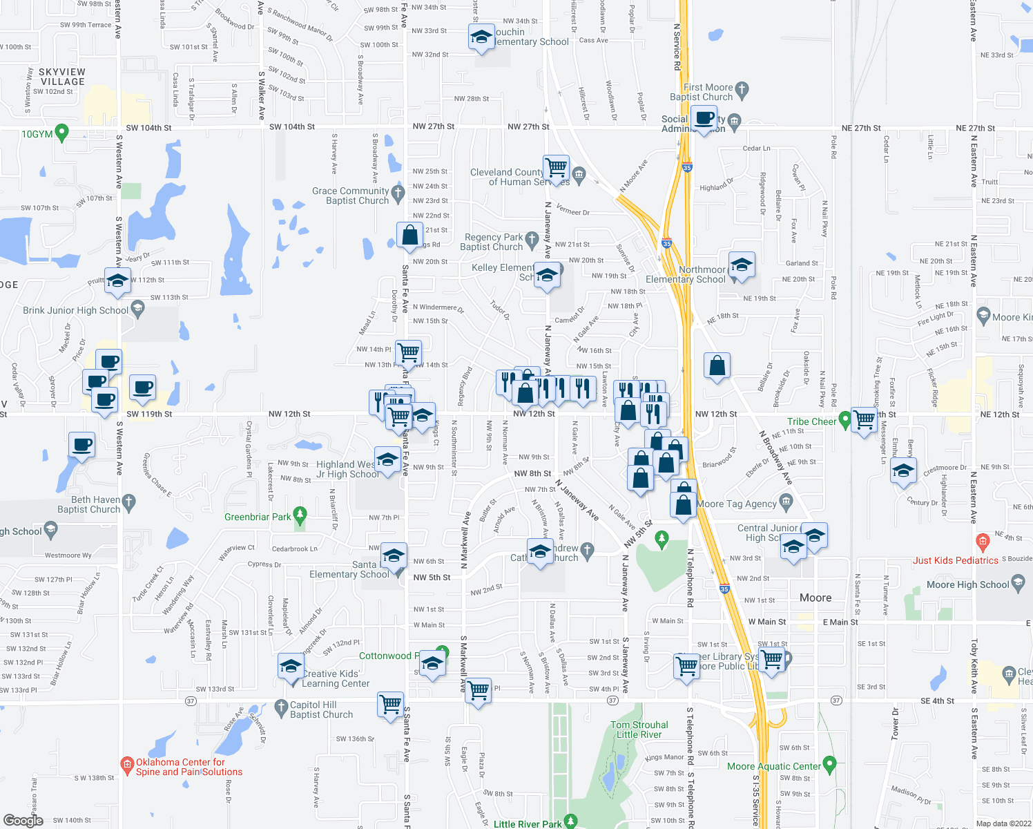map of restaurants, bars, coffee shops, grocery stores, and more near 1300-1312 North Norman Avenue in Moore