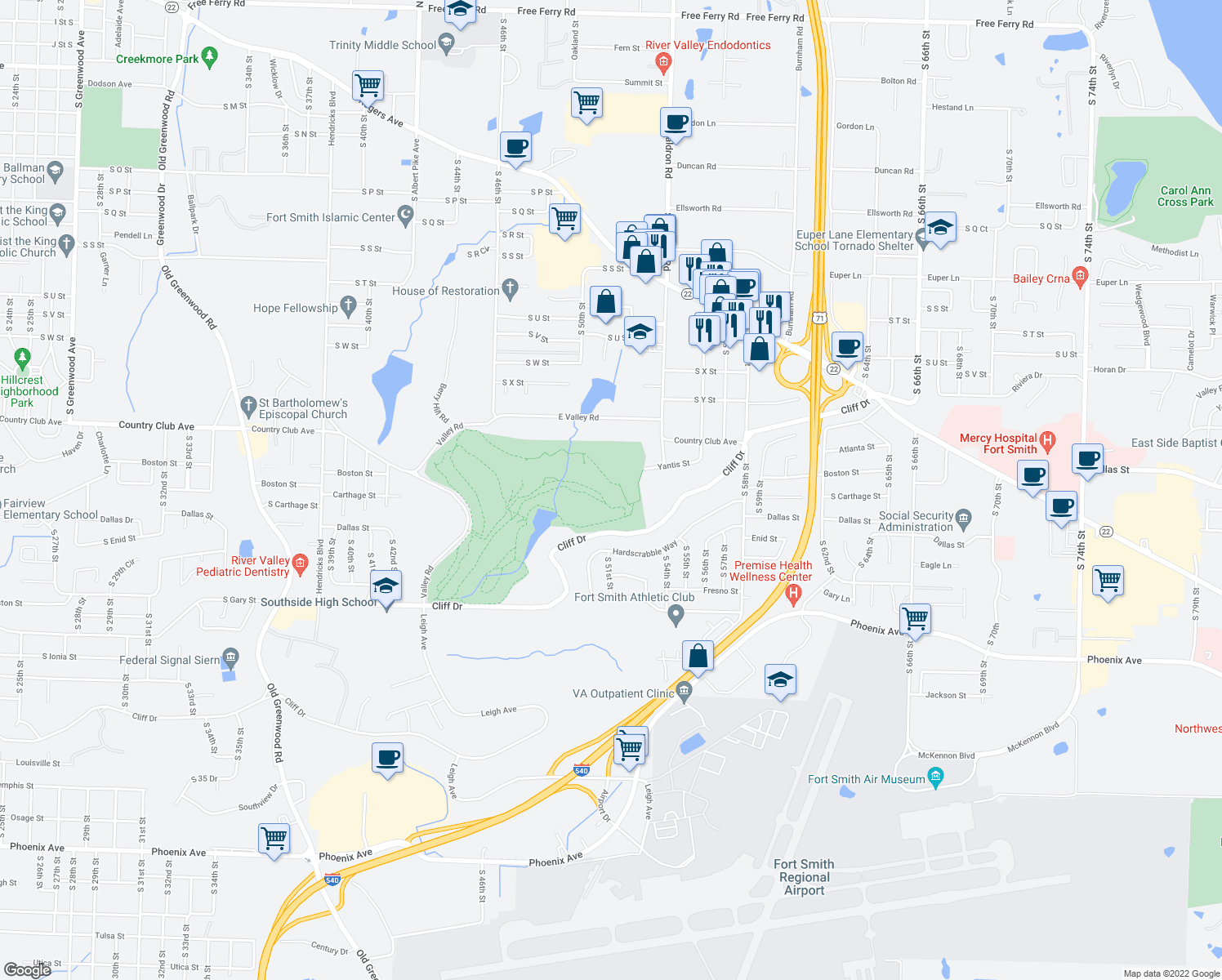 map of restaurants, bars, coffee shops, grocery stores, and more near 5301-5315 Cliff Drive in Fort Smith
