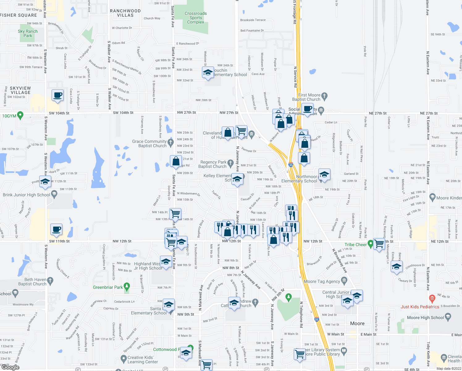 map of restaurants, bars, coffee shops, grocery stores, and more near 818 Saint George Circle in Moore
