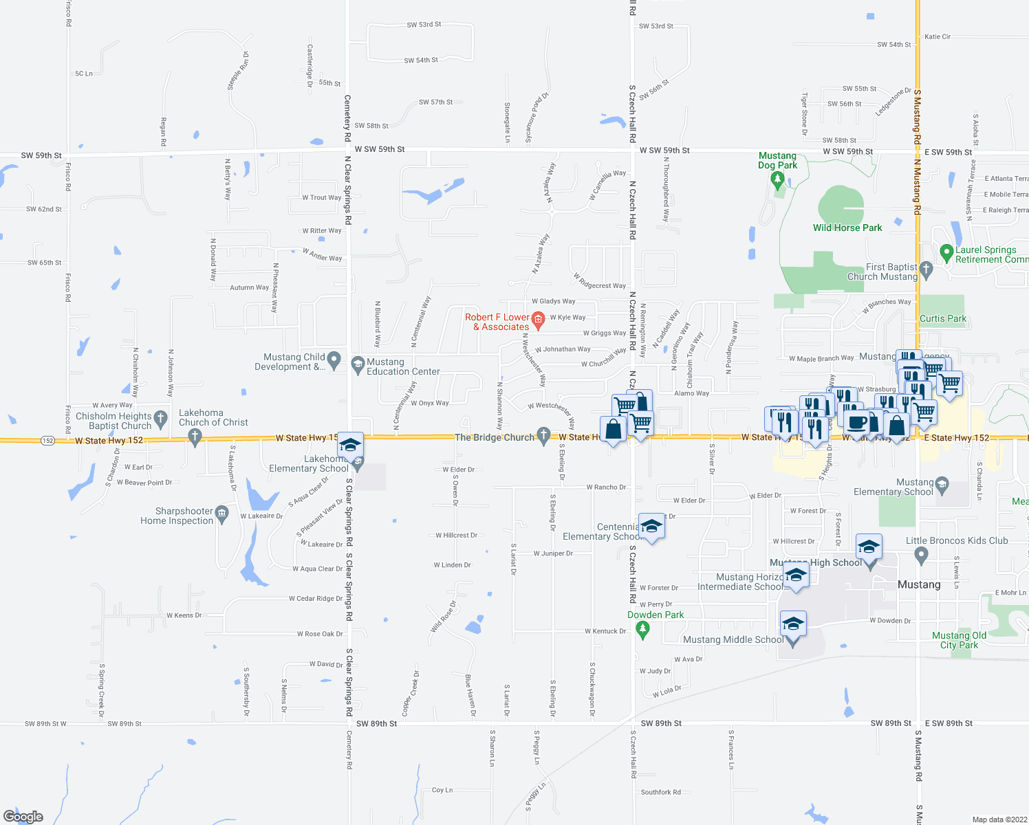 map of restaurants, bars, coffee shops, grocery stores, and more near 1125 West State Highway 152 in Mustang