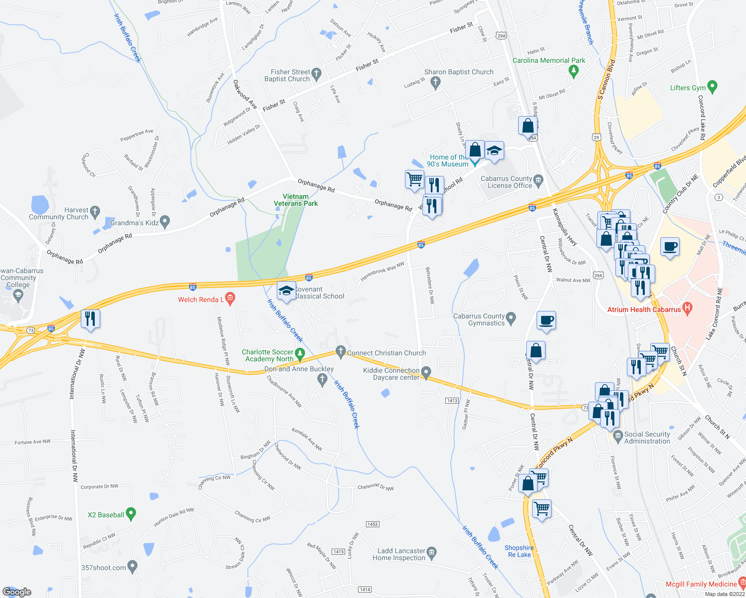 map of restaurants, bars, coffee shops, grocery stores, and more near 500 Ray Suggs Pl NW in Concord
