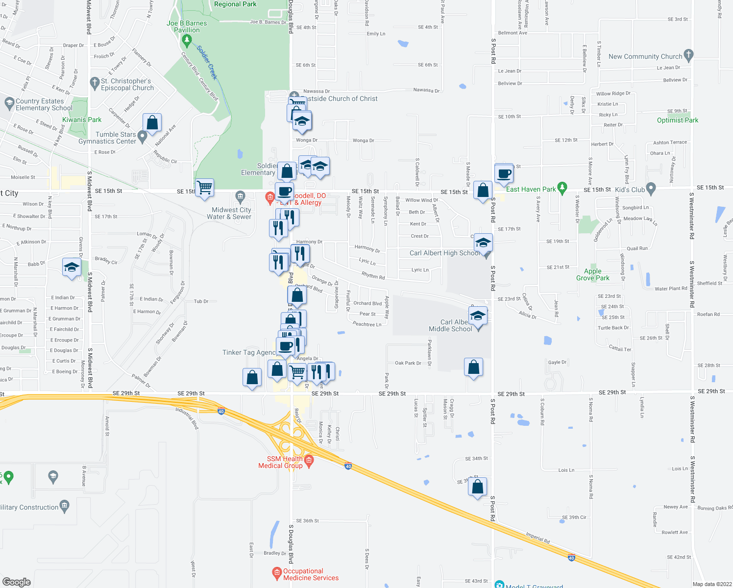 map of restaurants, bars, coffee shops, grocery stores, and more near 2333 Serenade Dr in Midwest City