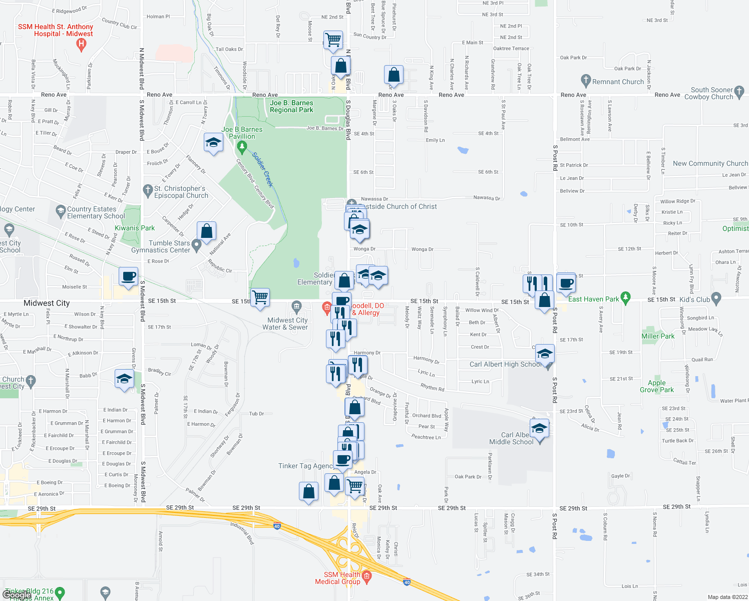 map of restaurants, bars, coffee shops, grocery stores, and more near 9121 Stonegate in Midwest City