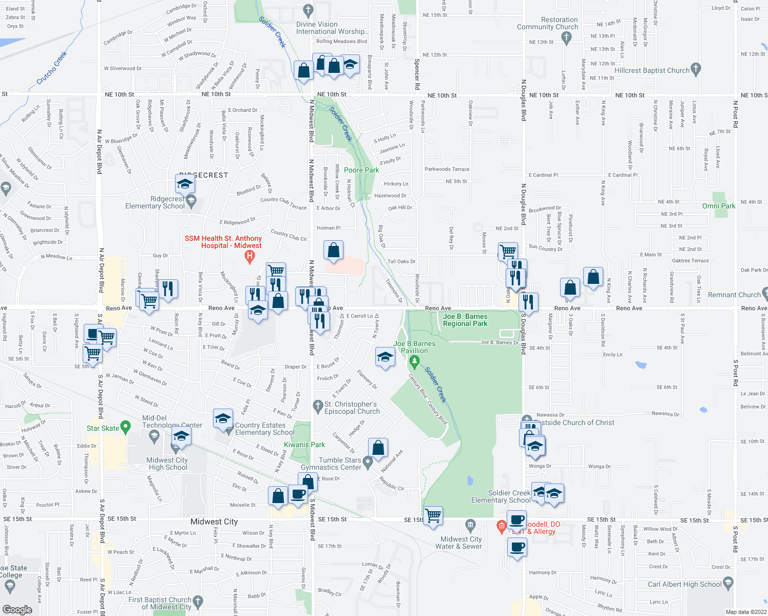 map of restaurants, bars, coffee shops, grocery stores, and more near 8401 East Reno Avenue in Midwest City