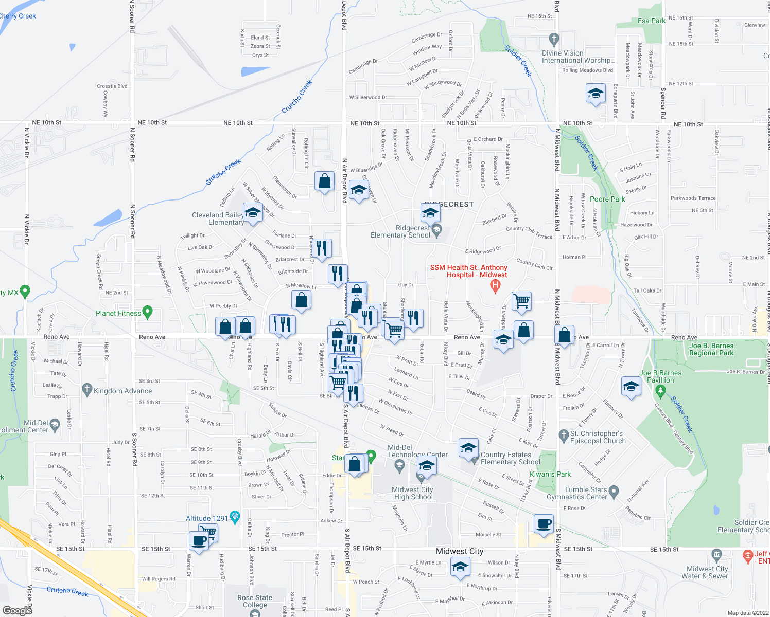 map of restaurants, bars, coffee shops, grocery stores, and more near 2908 N Glenhaven Dr in Midwest City