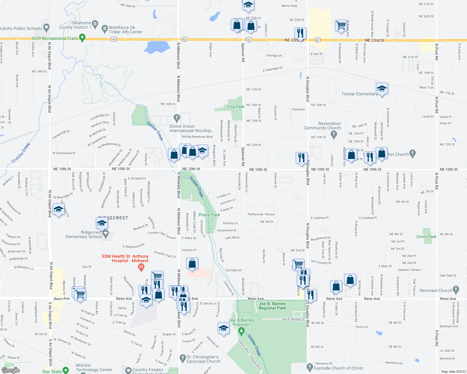 map of restaurants, bars, coffee shops, grocery stores, and more near 1112 Locust Dr in Midwest City