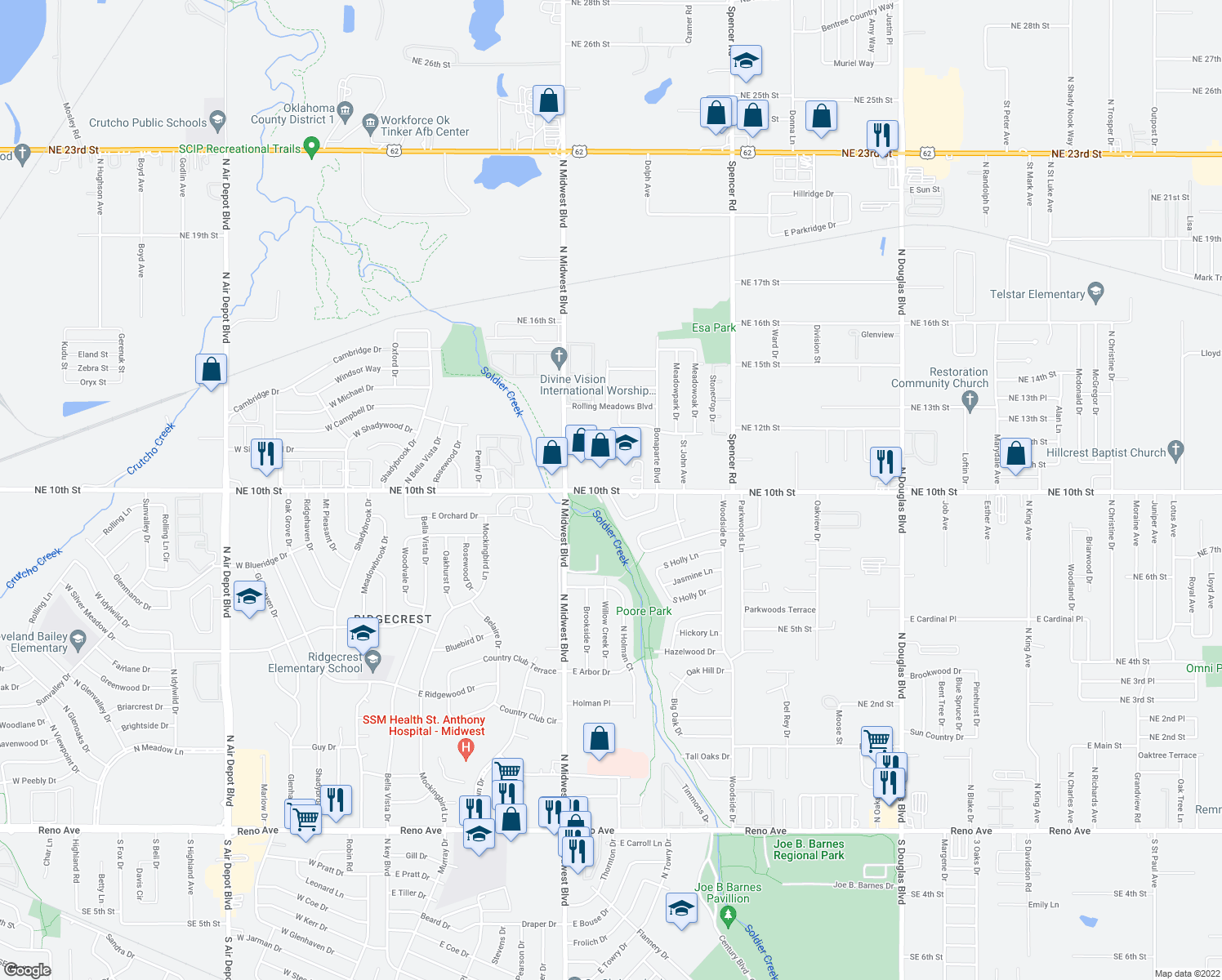 map of restaurants, bars, coffee shops, grocery stores, and more near 900-906 Crabtree Cove in Midwest City