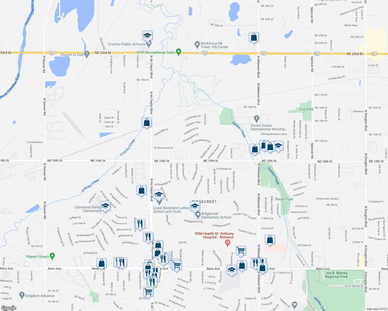 map of restaurants, bars, coffee shops, grocery stores, and more near 3834 N Oak Grove Dr in Oklahoma City