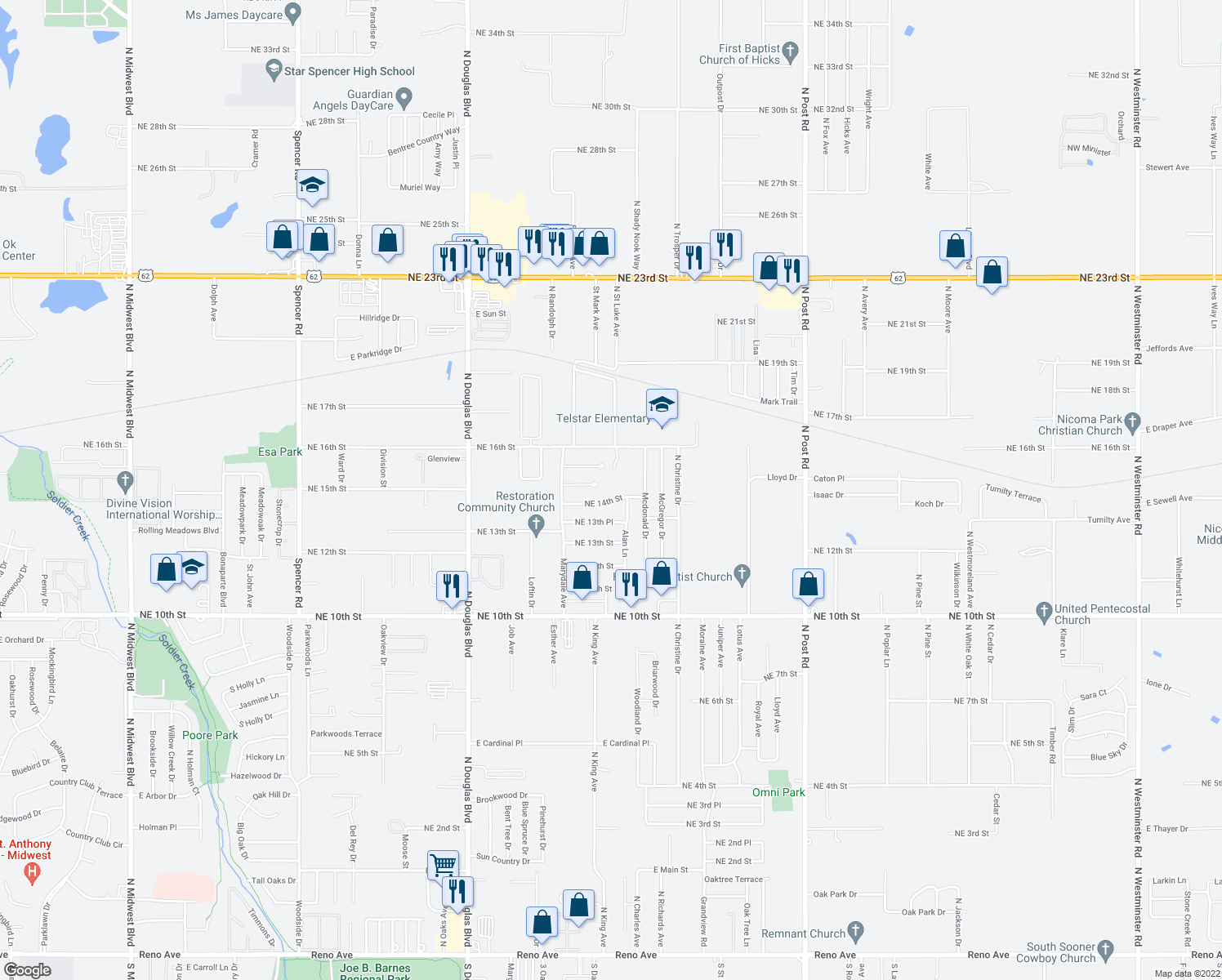 map of restaurants, bars, coffee shops, grocery stores, and more near 9425 Northeast 14th Street in Midwest City
