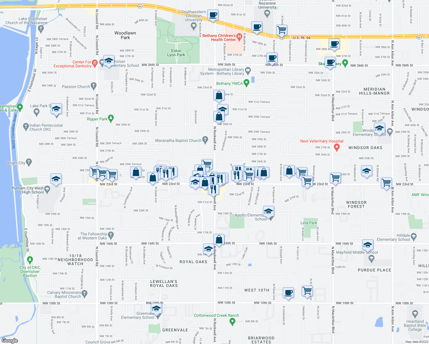 map of restaurants, bars, coffee shops, grocery stores, and more near 2500 North Rockwell Avenue in Bethany
