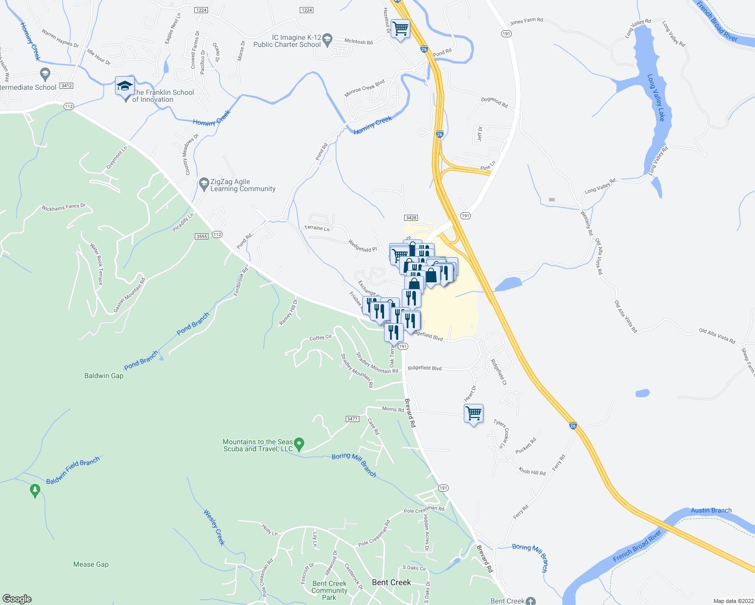 map of restaurants, bars, coffee shops, grocery stores, and more near 14 Oak Terrace Drive in Asheville