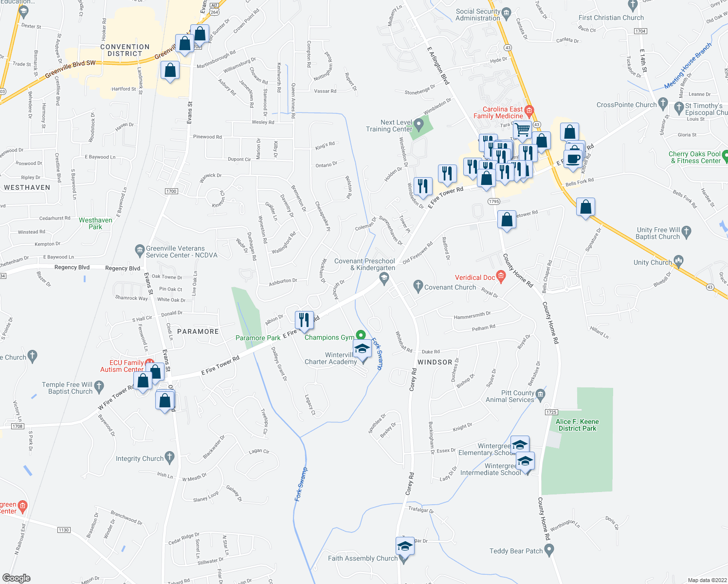 map of restaurants, bars, coffee shops, grocery stores, and more near 4001-4099 Whitebridge Drive in Winterville