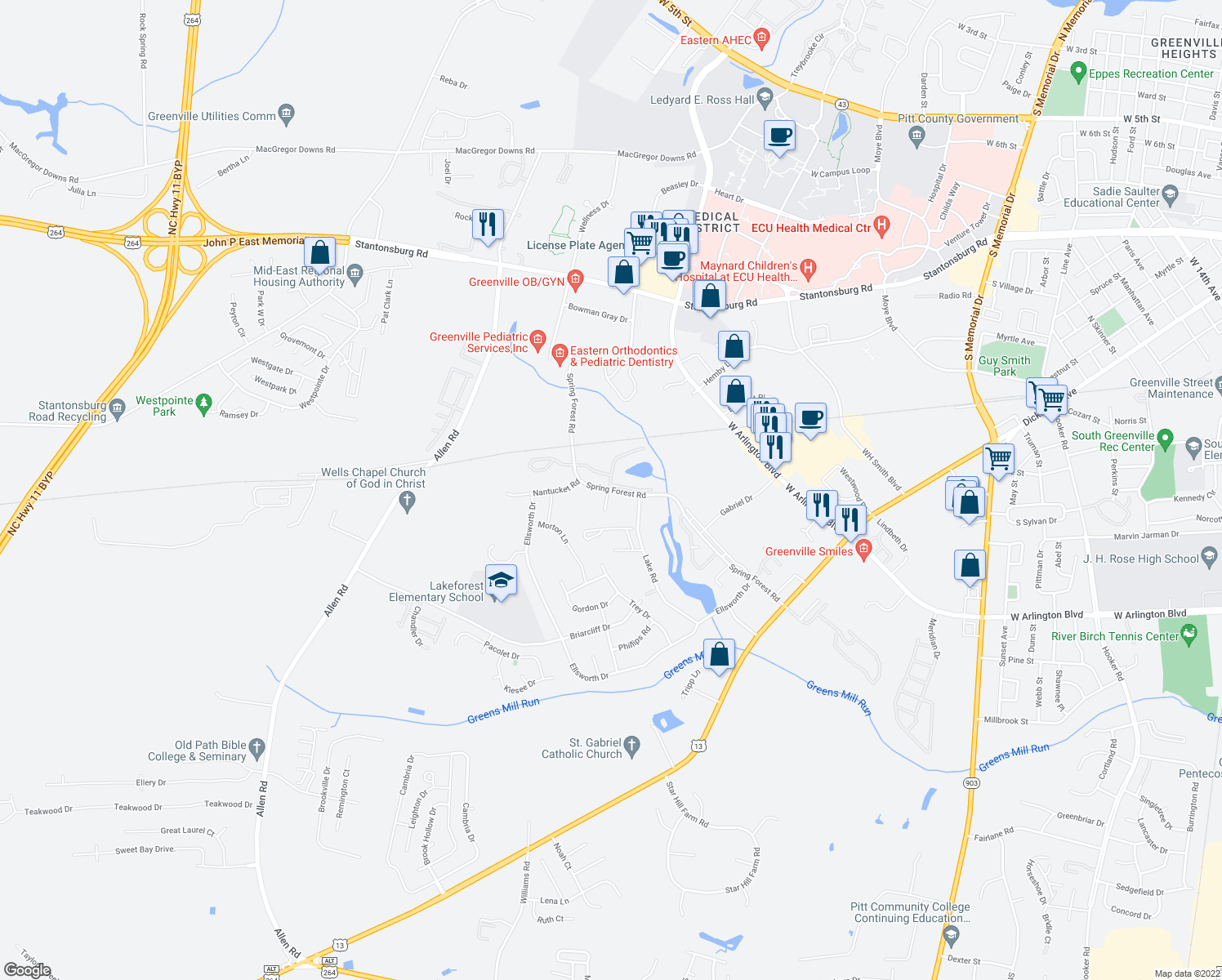 map of restaurants, bars, coffee shops, grocery stores, and more near 600 Spring Forest Rd in Greenville