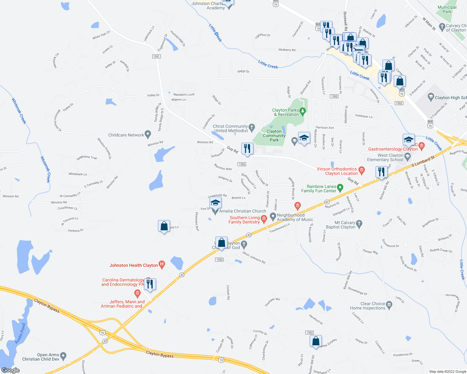 map of restaurants, bars, coffee shops, grocery stores, and more near 1440-1446 Amelia Church Road in Clayton
