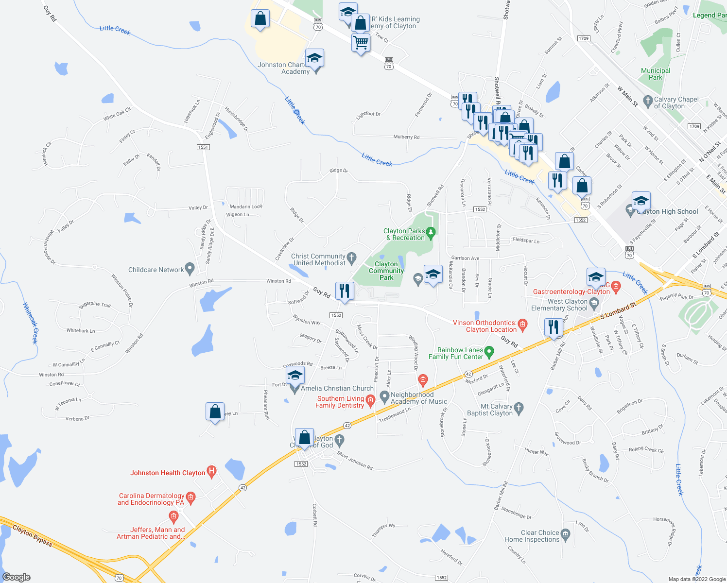 map of restaurants, bars, coffee shops, grocery stores, and more near 1918 Parkside Village Drive in Clayton