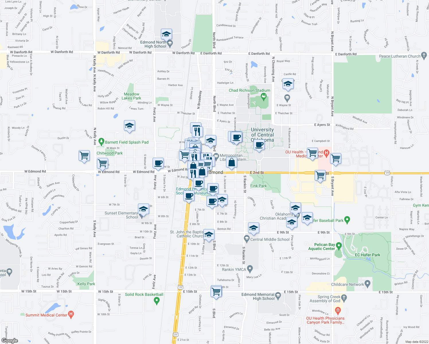 map of restaurants, bars, coffee shops, grocery stores, and more near in Edmond