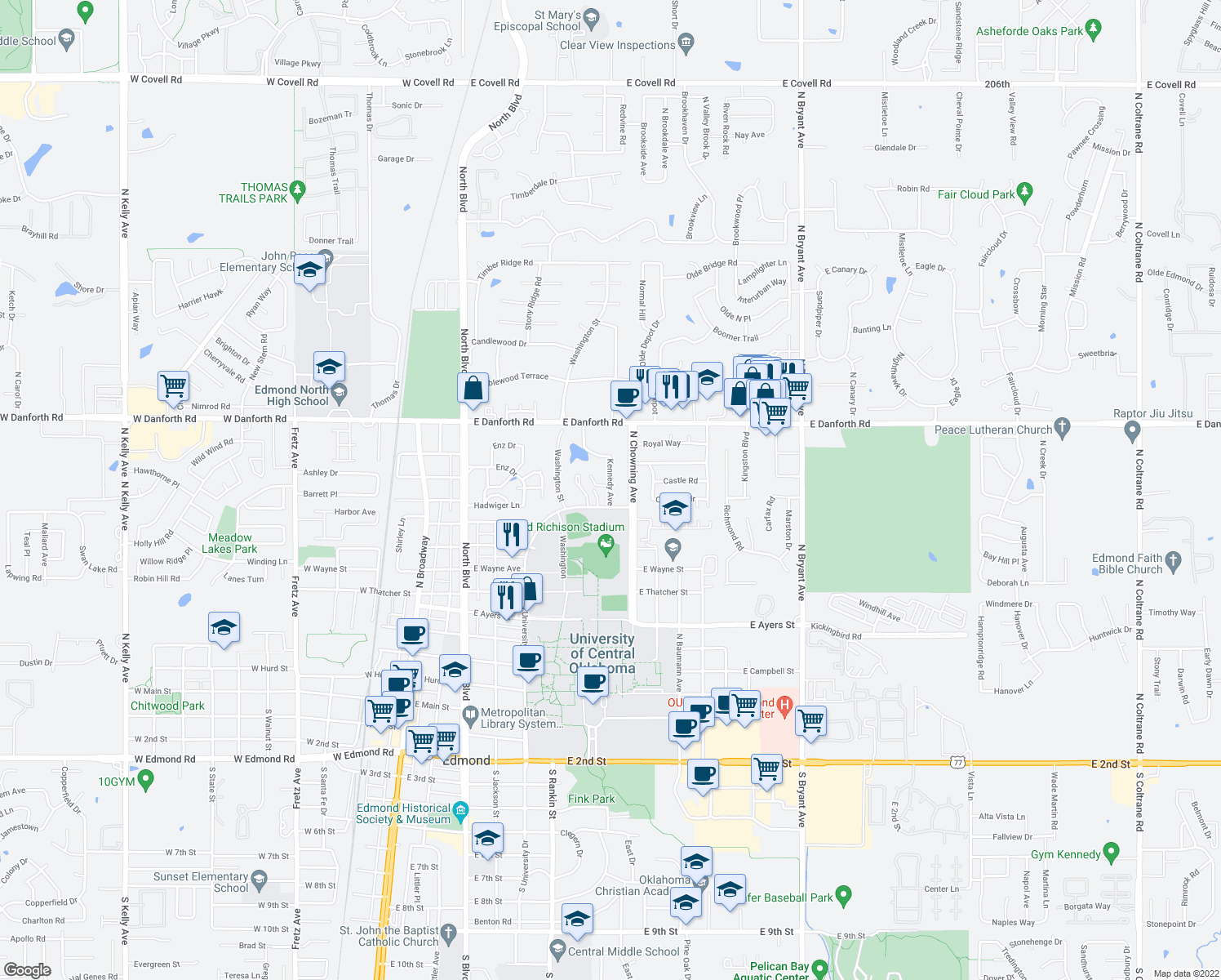 map of restaurants, bars, coffee shops, grocery stores, and more near 900 Kennedy Avenue in Edmond