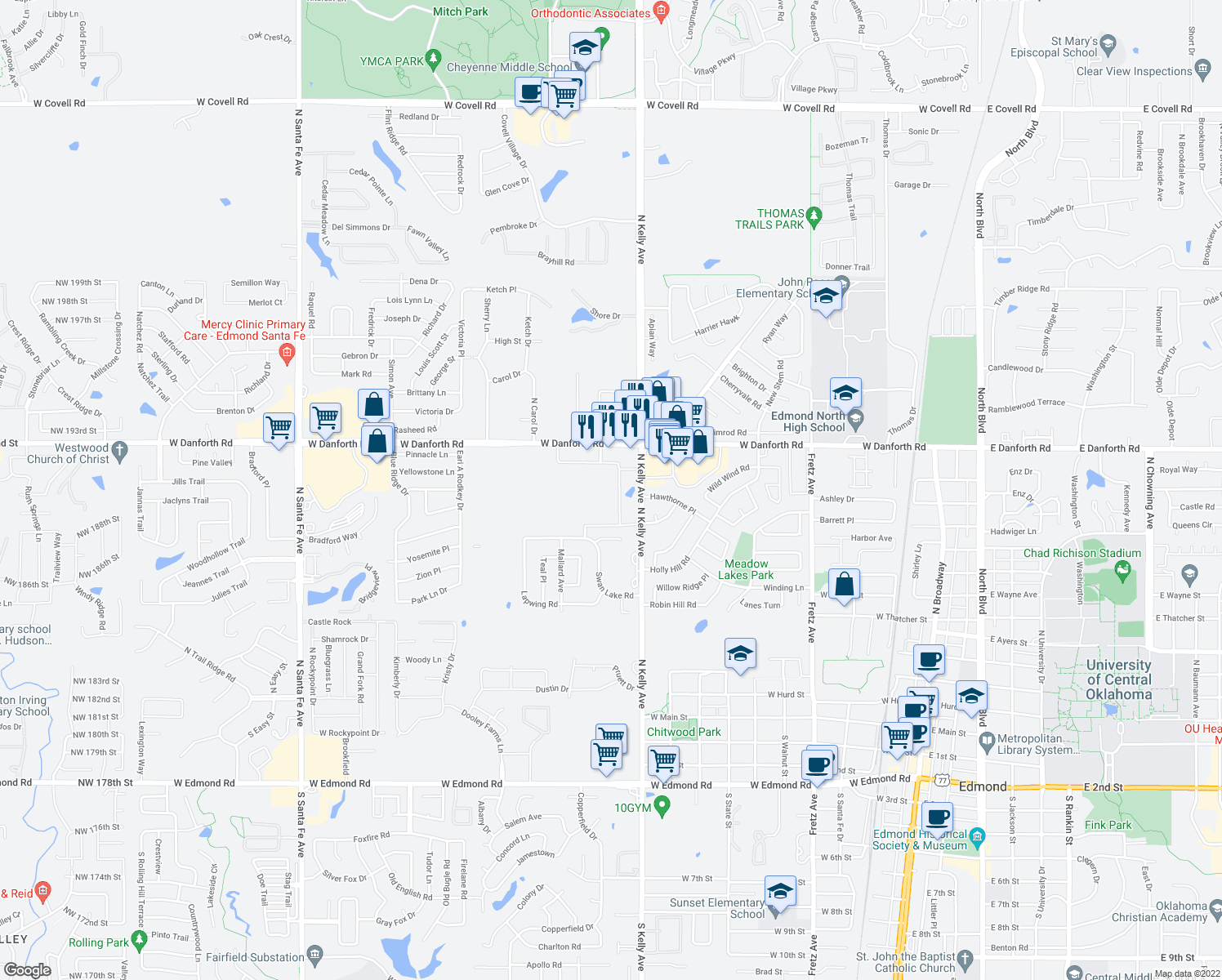 map of restaurants, bars, coffee shops, grocery stores, and more near 1141 North Kelly Avenue in Edmond