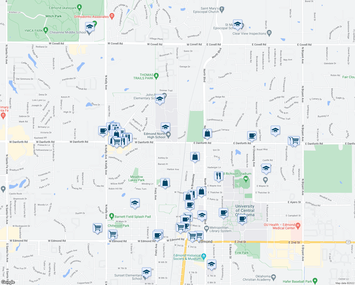 map of restaurants, bars, coffee shops, grocery stores, and more near 116 West Danforth Road in Edmond