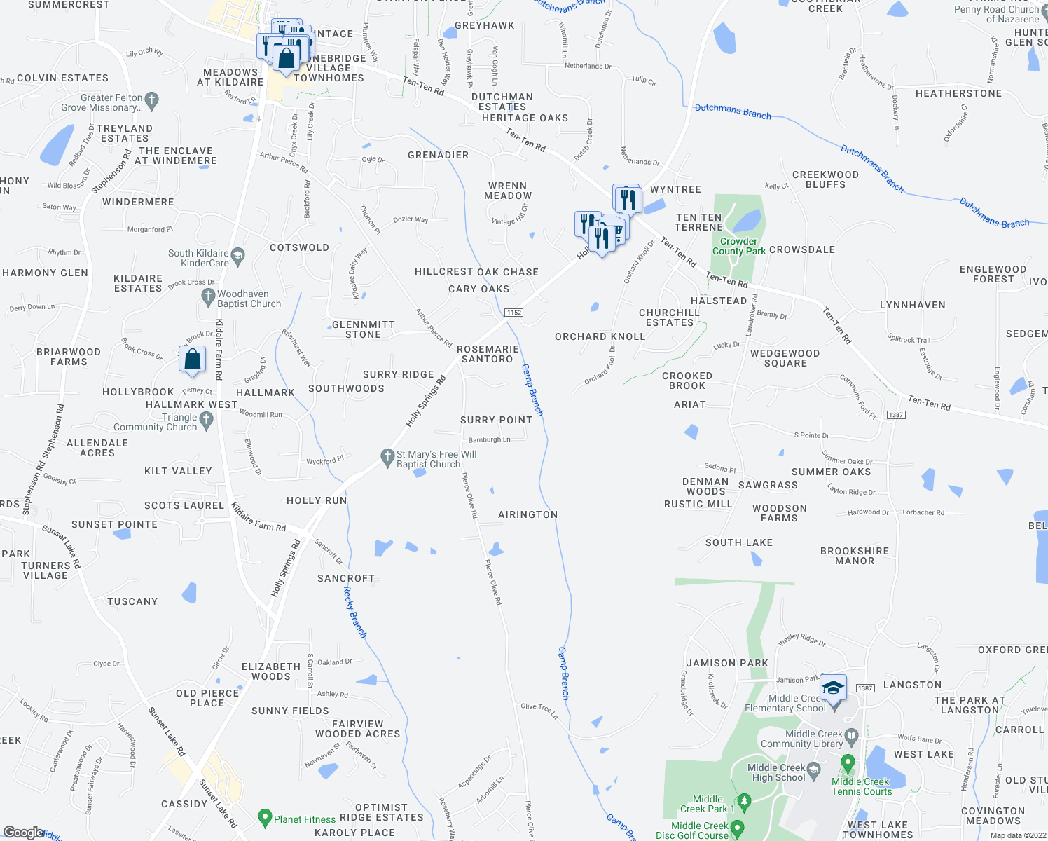 map of restaurants, bars, coffee shops, grocery stores, and more near 3904 Bamburgh Lane in Apex
