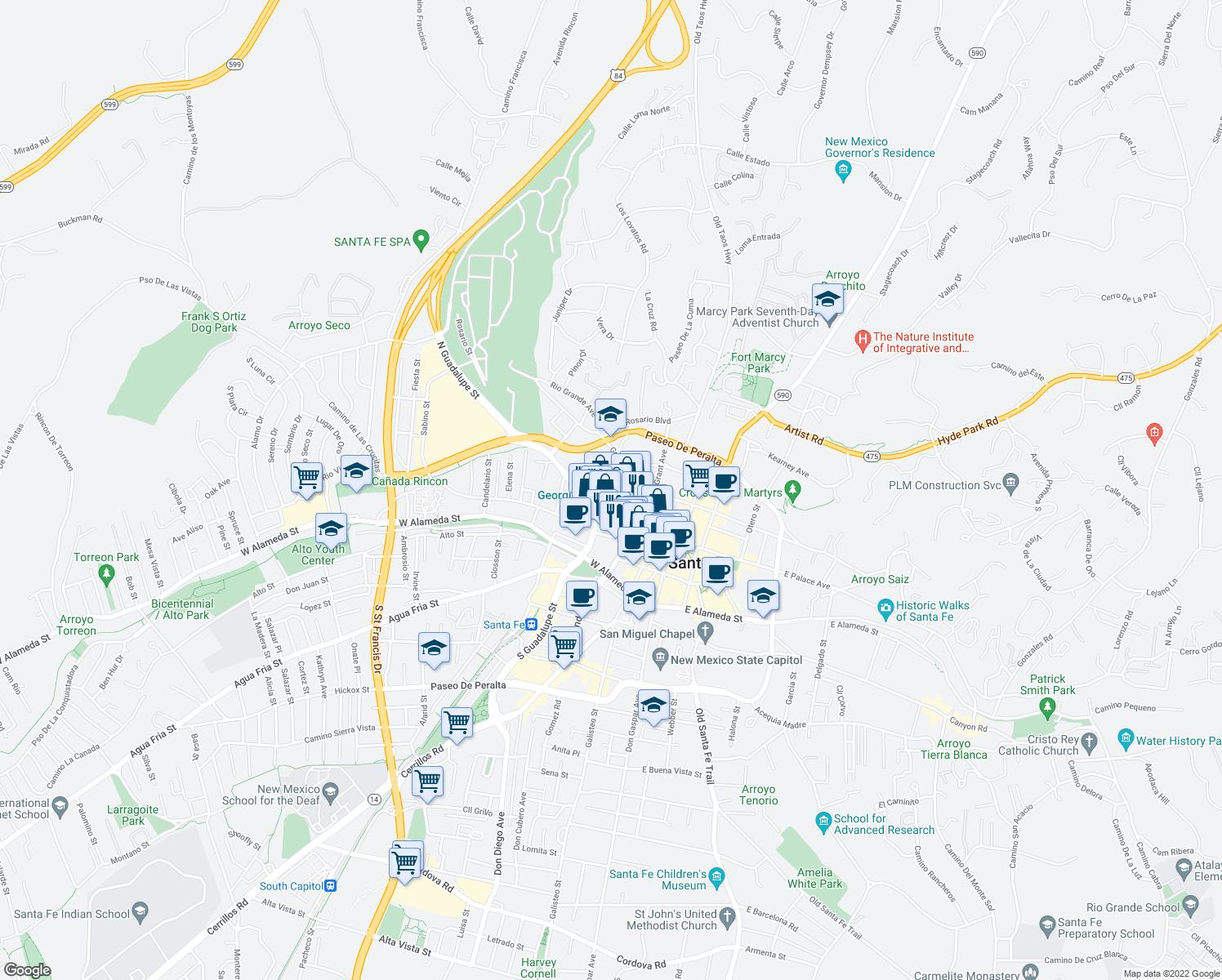 map of restaurants, bars, coffee shops, grocery stores, and more near 202 Chapelle Street in Santa Fe