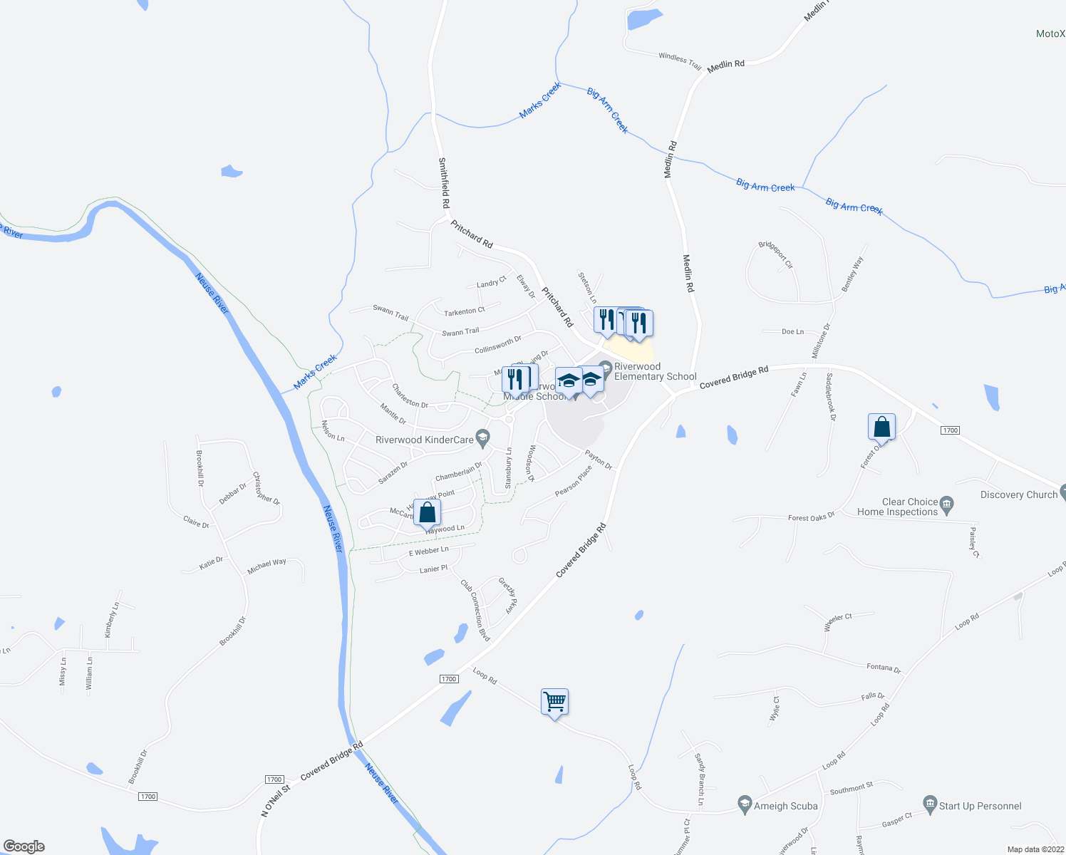 map of restaurants, bars, coffee shops, grocery stores, and more near 435 Athletic Club Blvd in Clayton