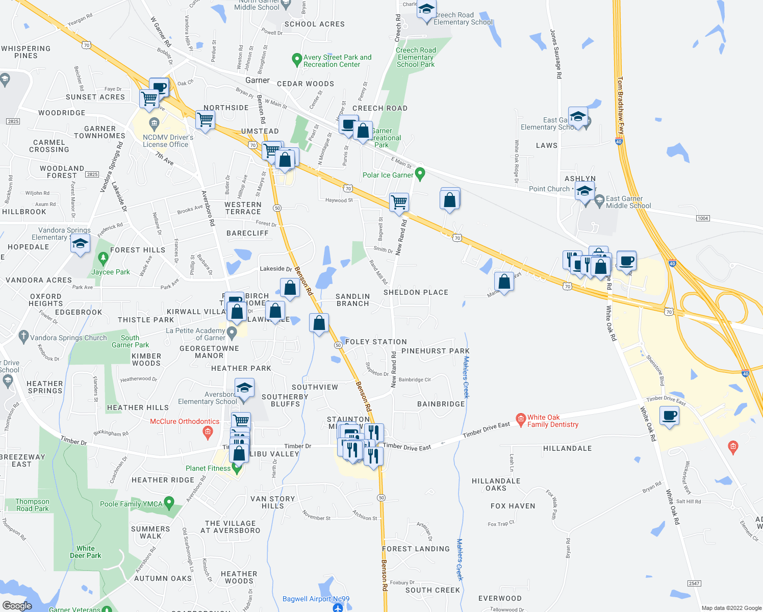 map of restaurants, bars, coffee shops, grocery stores, and more near 606 New Rand Road in Garner