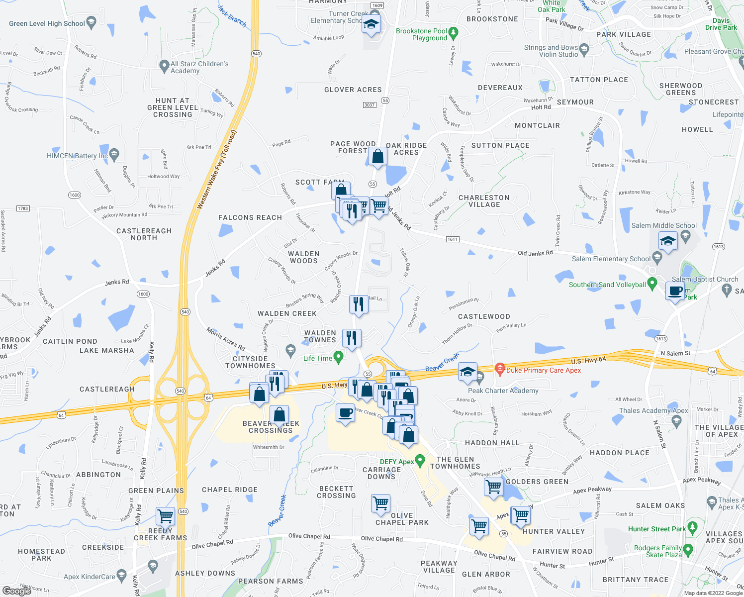 map of restaurants, bars, coffee shops, grocery stores, and more near 201 Fantail Lane in Apex