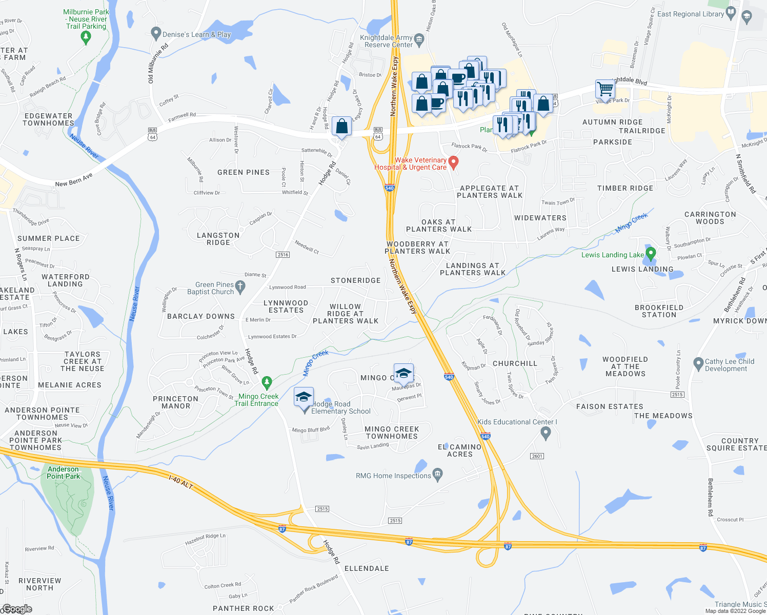 map of restaurants, bars, coffee shops, grocery stores, and more near 1013 Pine Acres Court in Knightdale
