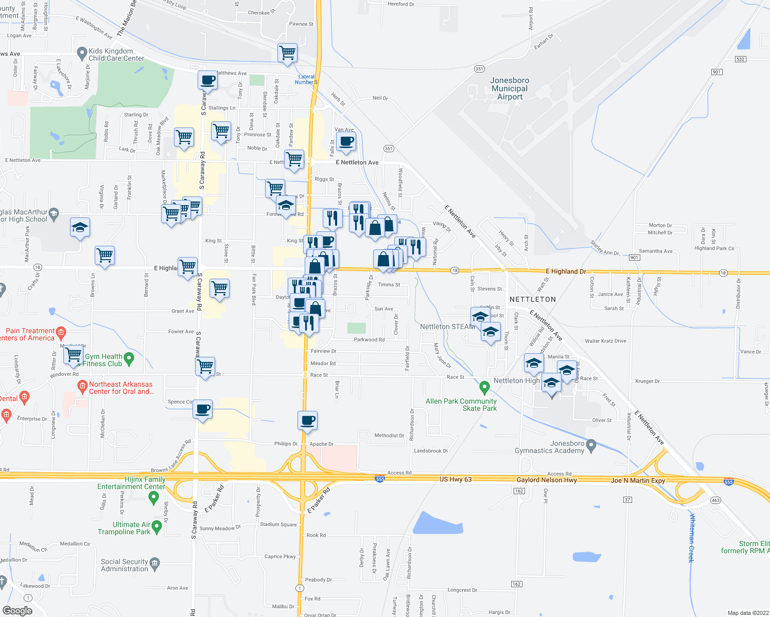 map of restaurants, bars, coffee shops, grocery stores, and more near 3304 Sun Avenue in Jonesboro