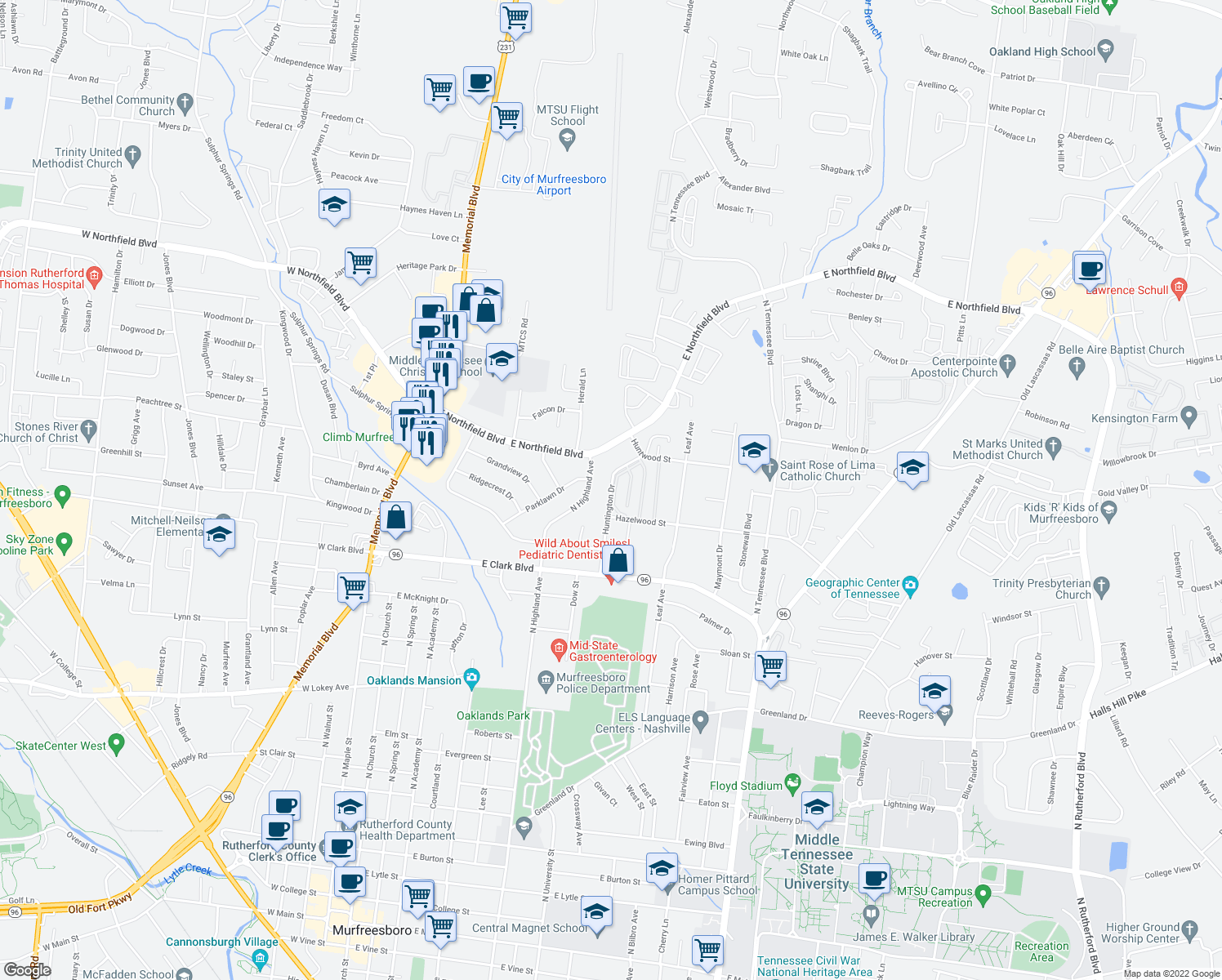 map of restaurants, bars, coffee shops, grocery stores, and more near 1510 Huntington Drive in Murfreesboro
