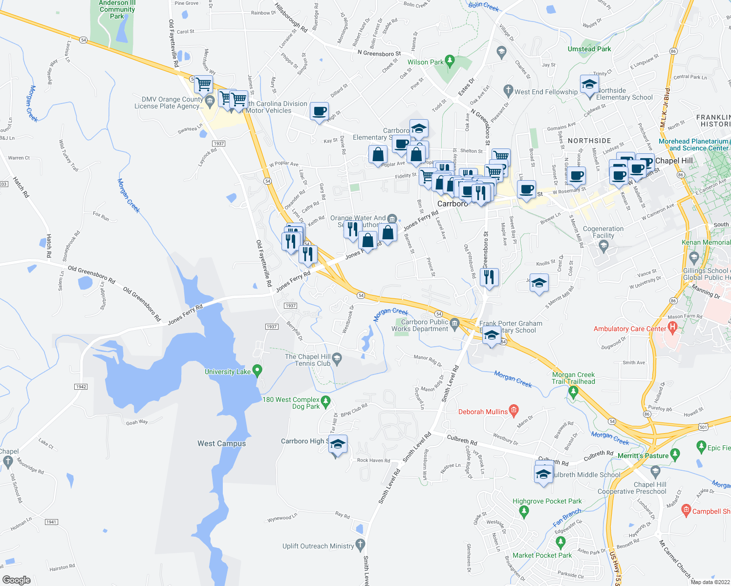 map of restaurants, bars, coffee shops, grocery stores, and more near 37-197 North Carolina 54 in Carrboro