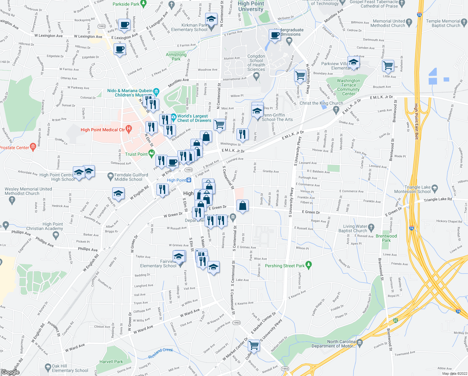 map of restaurants, bars, coffee shops, grocery stores, and more near 505 East Commerce Avenue in High Point