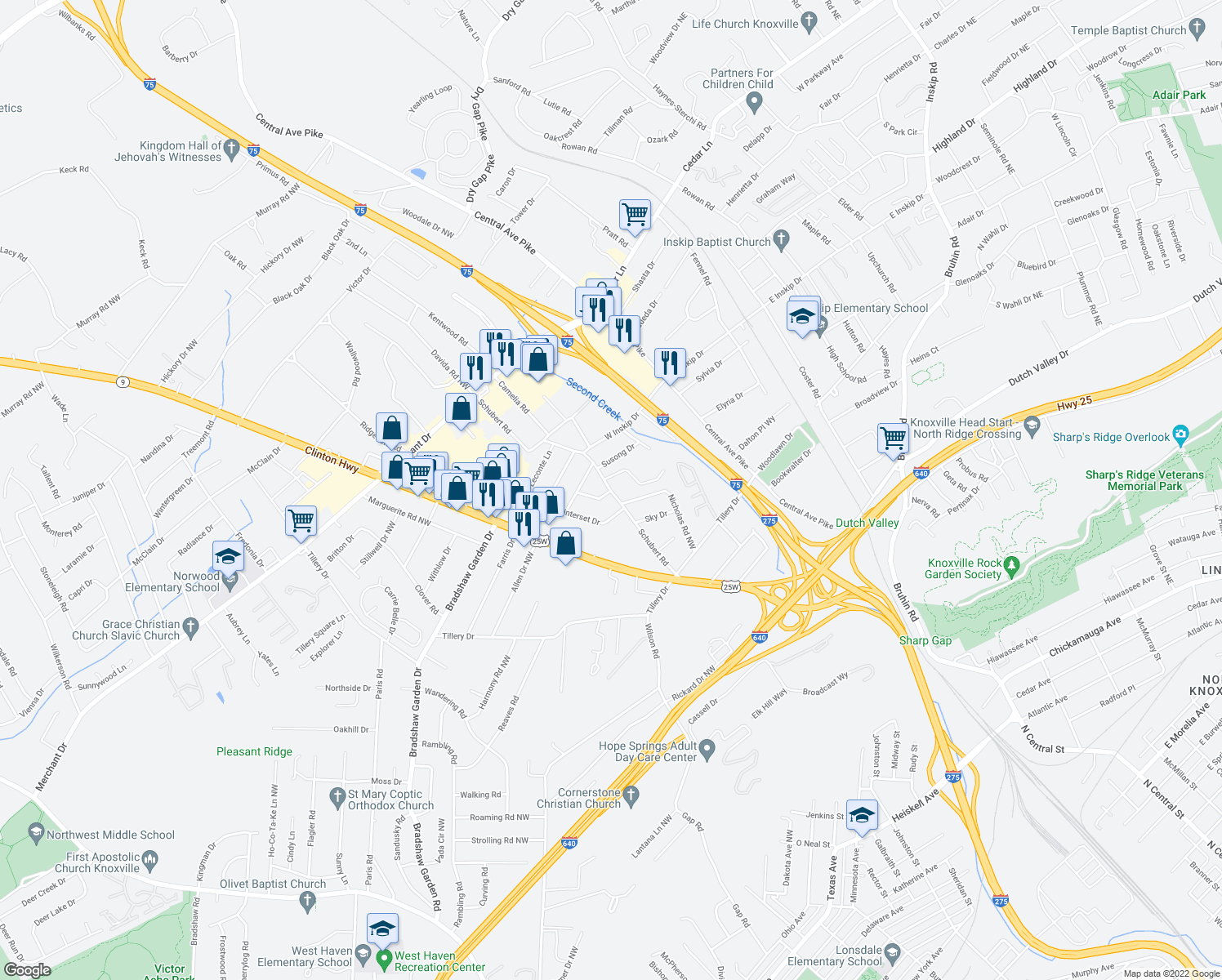 map of restaurants, bars, coffee shops, grocery stores, and more near 4608 Tanglewood Dr NW in Knoxville
