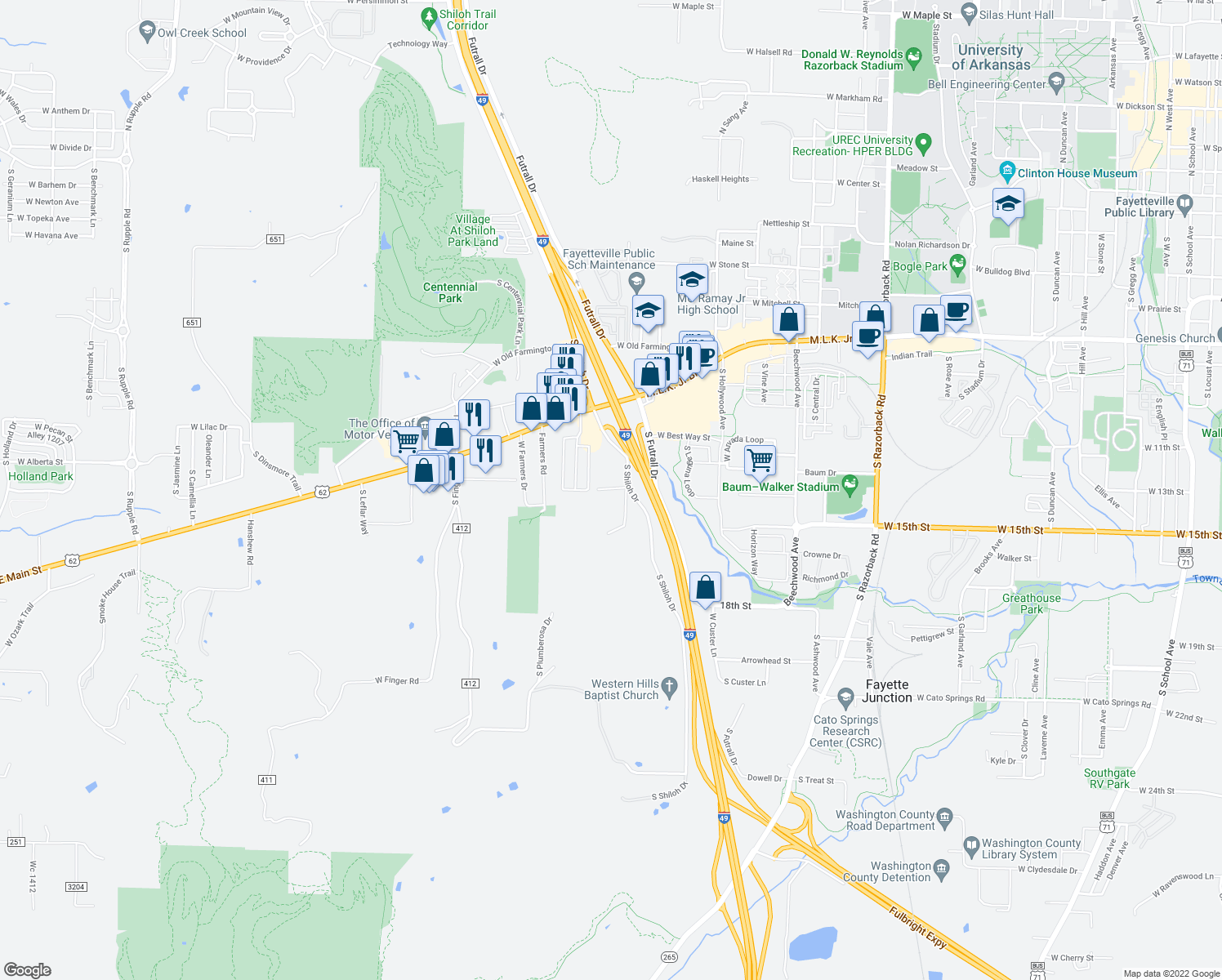 map of restaurants, bars, coffee shops, grocery stores, and more near 2475 West 15th Street in Fayetteville